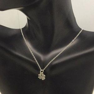 Silver Four Leaf Clover Pendant Necklace